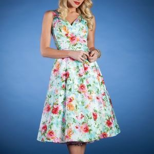 Stop Staring Watercolor Vintage Floral Dress XS